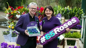 Keelin Shanley and Joe Brolly at the launch of the annual 65 Roses Day fundraising campaign for cystic fibrosis.
