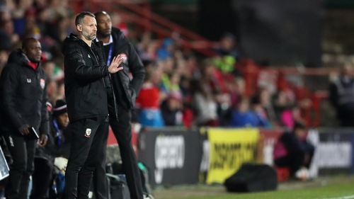 Ryan Giggs watches his side during the late win over Trinidad & Tobago