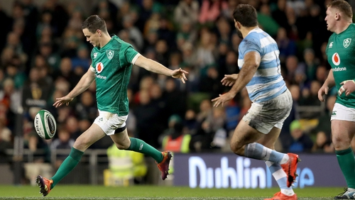 Ireland's Jonathan Sexton kicks for touch against Argentina last November
