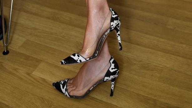 Meghan's animal print heels (Clodagh Kilcoyne/PA)