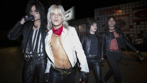 Douglas Booth, Daniel Webber, Iwan Rheon and Colson Baker as Motley Crue