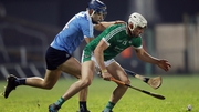 Limerick's Aaron Gillane (R) and Eoghan O'Donnell of Dublin battle for possession in last year's League encounter