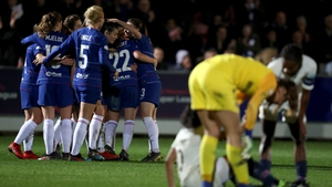 Chelsea players celebrate their second goal against PSG