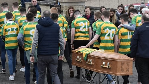 The coffin arrives for the funeral of Connor Currie at St Malachy's Church in Edendork