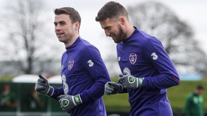 Seamus Coleman and Matt Doherty in training