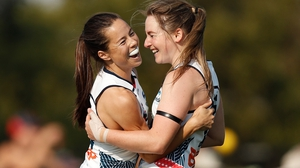 Sophie Li (left) celebrates with Ailish Considine