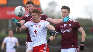Tyrone's Peter Harte with Galway's Gareth Bradshaw and Antoine O'Laoi