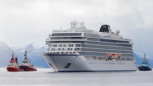 The Viking Sky arrives at the port of Molde in Norway this afternoon