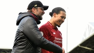 Virgil van Dijk with boss Jurgen Klopp