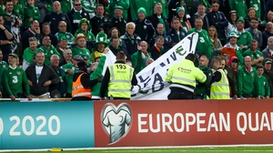 Ireland fans in Gibraltar unfurl an anti-John Delaney banner