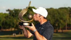 Paul Casey with the winner's trophy