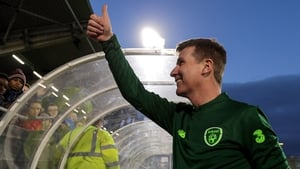 Ireland manager Stephen Kenny celebrates after the game