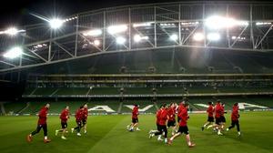 Georgia training in the Aviva Staidum on Monday night