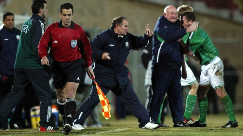 Brian Kerr celebrates the late winner against Georgia in the 2003 qualifier