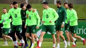 The Irish players at Monday's training session