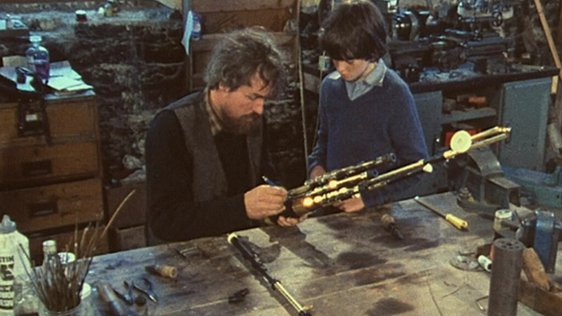 Uilleann pipe maker Eugene Lamb and his son Ian, Fanore, Co. Clare (1984)