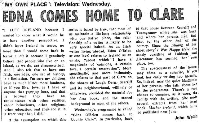 RTÉ Guide 28 November 1975, Edna O'Brien