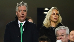 The FAI executive vice-president John Delaney witnessed a protest against FAI governance during the first half