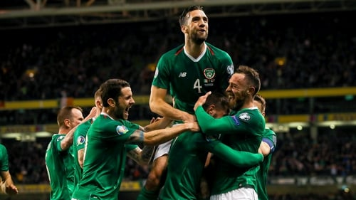 Shane Duffy hits the heights celebrating Hourihane's goal