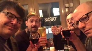 Graham Linehan (far left) shared a celebratory photo on Thursday night. with co-writers Neil Hannon, Paul Woodful and Arthur Matthews. Photo: Graham Linehan/Twitter