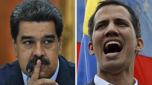 Venezuelan opposition leader Juan Guaido (R) and President Nicolas Maduro have rival claims to be the legitimate leader