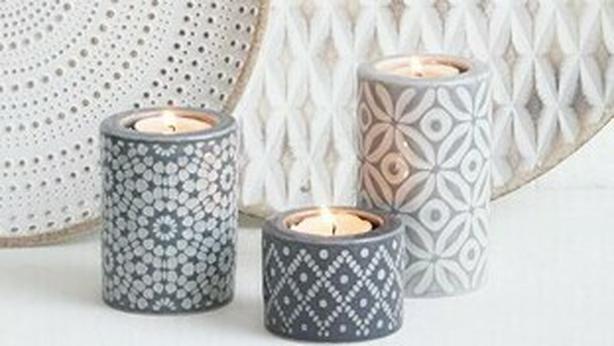 geo pattern tealights