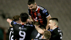 Bohemians players celebrate with goalscorer Keith Buckley