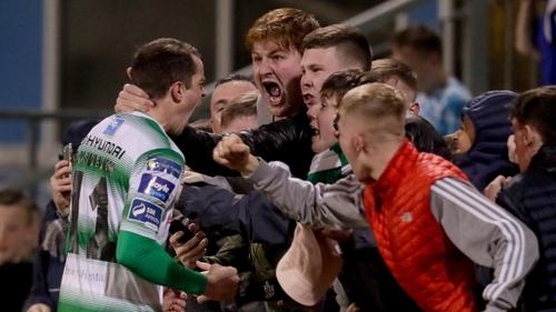 Sean Kavanagh celebrates a Jack Byrne goal with fans