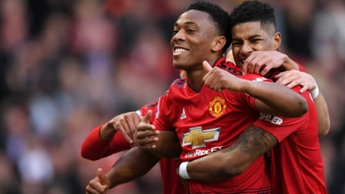 Anthony Martial celebrates his goal against Watford