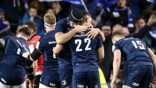 Leinster's Noel Reid and Scott Fardy celebrate at the final whistle
