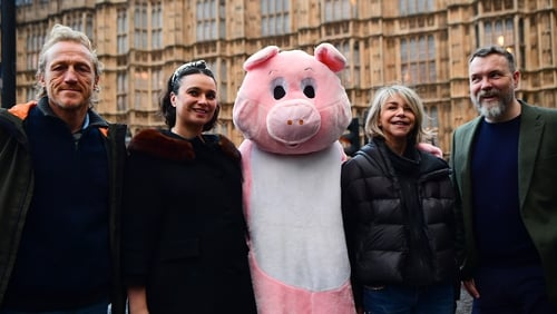 (L-R) Jerome Flynn, Gizzi Erskine, Leslie Ash and Ciaran McMenamin protest on behalf of Farms not Factories