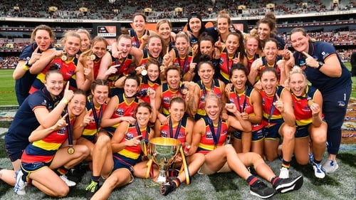 Adelaide Crows celebrate their win at the Adelaide Oval