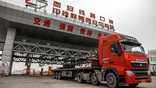 Many international freight trains begin its trade routes from Xi'an Railway Cargo Container Center (pictured) within the framework of China's Belt and Road Initiative