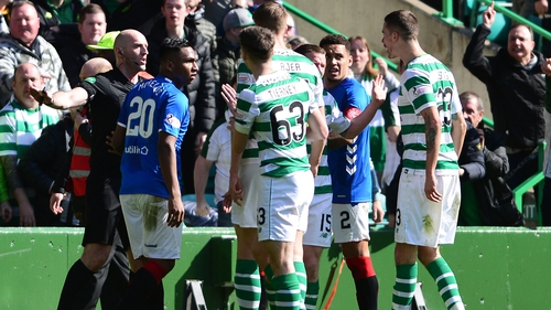 Alfredo Morelos elbowed Scott Brown off the ball, and was sent off, in the first-half