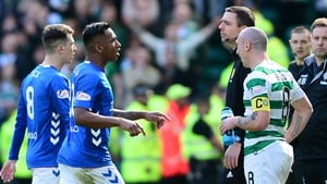 Alfredo Morelos was sent off for elbowing Scott Brown