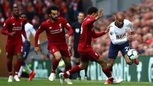 Lucas Moura tries to skip past Trent Alexander Arnold