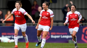 Katie McCabe celebrates after scoring the only goal in Arsenal's 1-0 win over Birmingham
