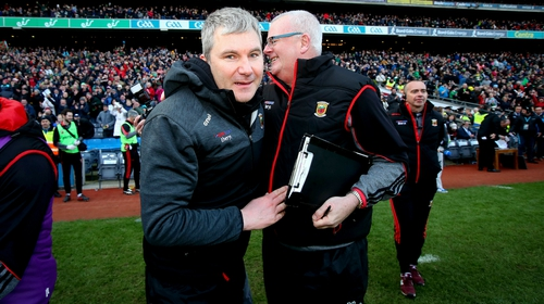 Mayo manager James Horan (L) celebrates his team's win