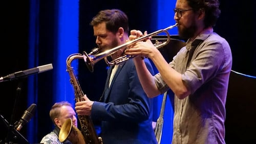 Seamus Blake on sax with Espen Berg on piano and trumpeter Hayden Powell.