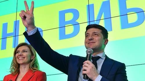 Comedian and actor Volodymyr Zelensky topped the polls after the first round of voting