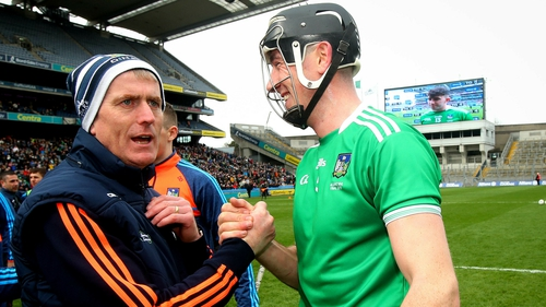 John Kiely (L) celebrates with Diarmaid Byrnes after the league final win against Waterford