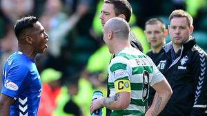 Alfredo Morelos (L) is given his marching orders by referee Bobby Madden