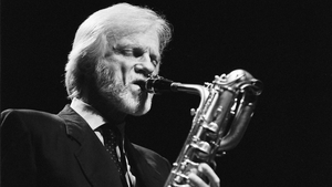 Baritone saxophonist Gerry Mulligan (1927-1996) performs in Rotterdam in 1991