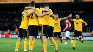 Wolves celebrate their winning goal against United