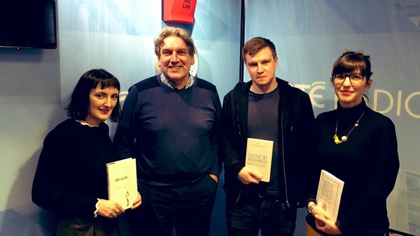 Writers Sinéad Gleeson, Ian Malaney and Emilie Pine with RTÉ Radio 1 Arena presenter Sean Rocks