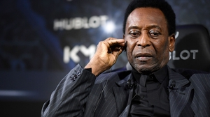 Pele pictured in Paris yesterday