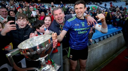 Jason Doherty celebrates with fans after Mayo's League victory