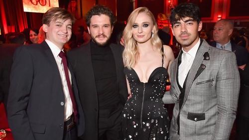 Jack Gleeson, Kit Harington, Sophie Turner and her fiance Joe Jonas