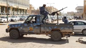Forces loyal to Libyan strongman Khalifa Haftar patrol in the southern Libyan city of Sebha (file image)