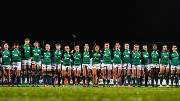 The Ireland team during the playing of the national anthem ahead of the Women's Six Nations Rugby Championship match between Ireland and France in 2019. Photo By Ramsey Cardy/Sportsfile via Getty Images